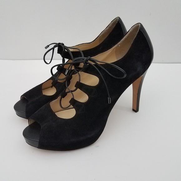 3f38c39acc2 Talbots Erica Open Toe Lace Up Bootie Black Heels.  M 5bc53a93fe5151a5dc8dfa0c